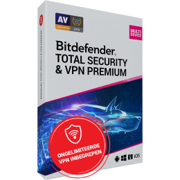 Security: Bitdefender Total Security + VPN Premium 10-Devices 1year
