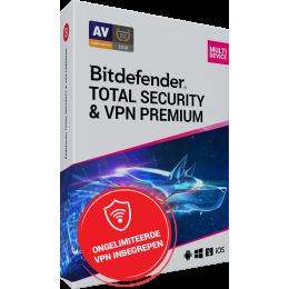 Security: Bitdefender Total Security + VPN Premium 10-Devices 3years