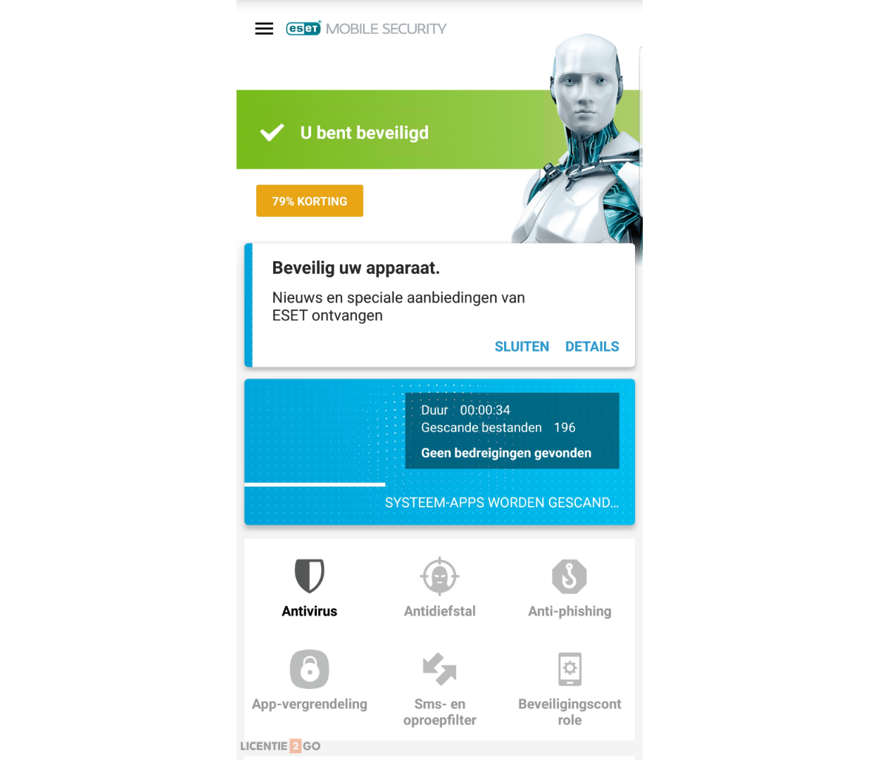 ESET mobile security hoofdscherm Scan