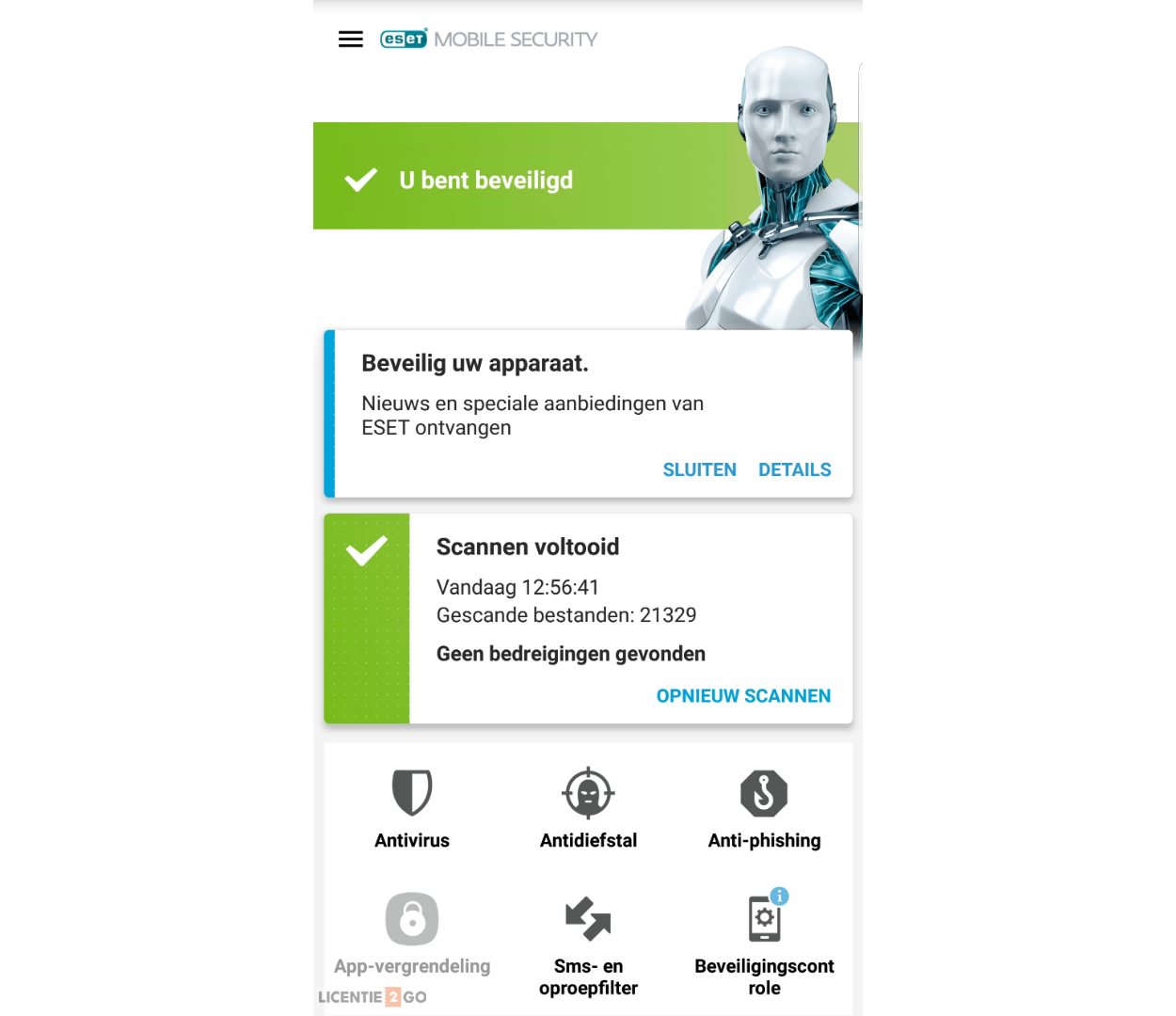 ESET Mobile Security hoofdscherm