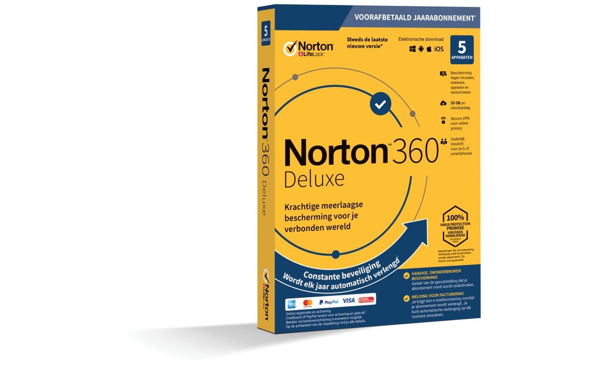 Norton 360 Deluxe | 5Apparaten - 1Jaar | Windows - Mac - Android - iOS | 50Gb Cloud Opslag