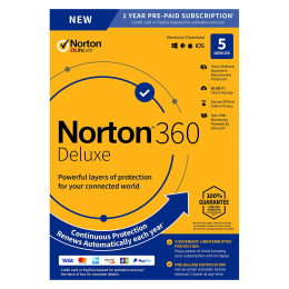 Security: Norton 360 Deluxe | 5Devices - 1Year | Windows - Mac - Android - iOS | 50Gb Cloud Storage