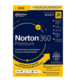 Norton 360 Premium | 10Dispositivi - 1Anno | Windows - Mac - Android - iOS |75GB archivio cloud